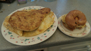 Bacon and egg bagels -- cooked by Dave, put in naan bread by me because we ran out of bagels
