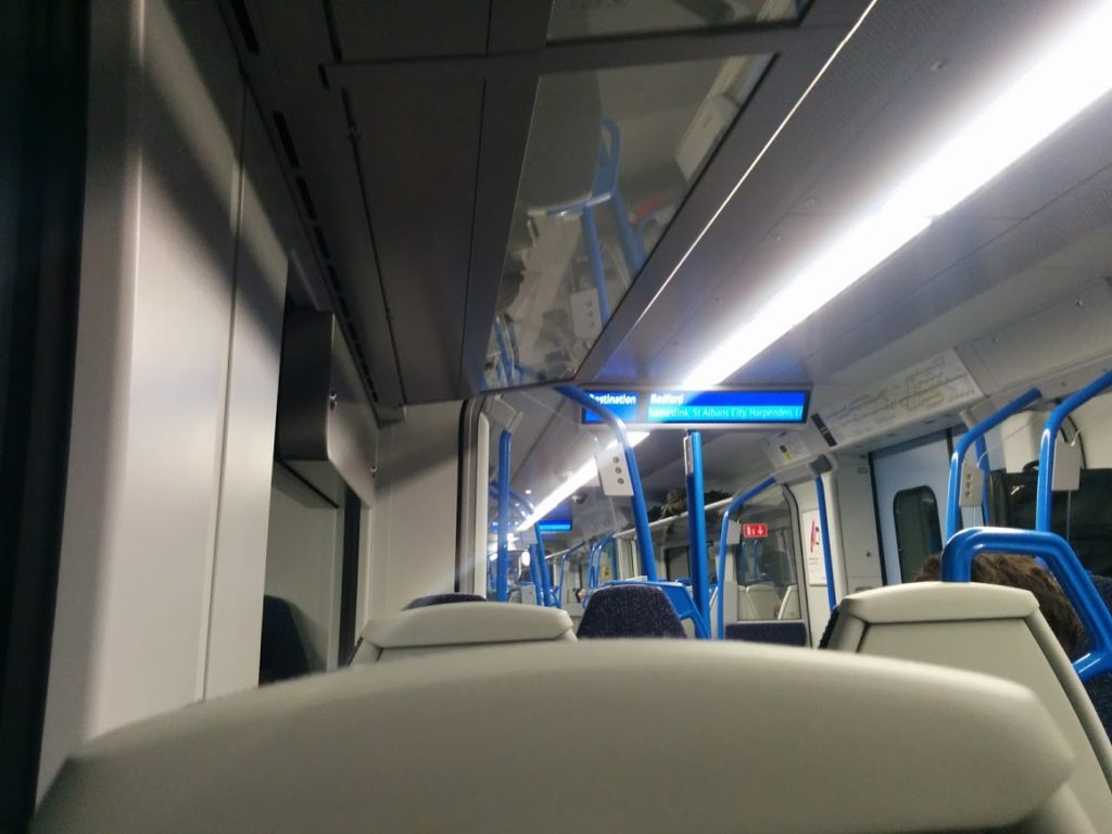 Picture of the inside of a London train.