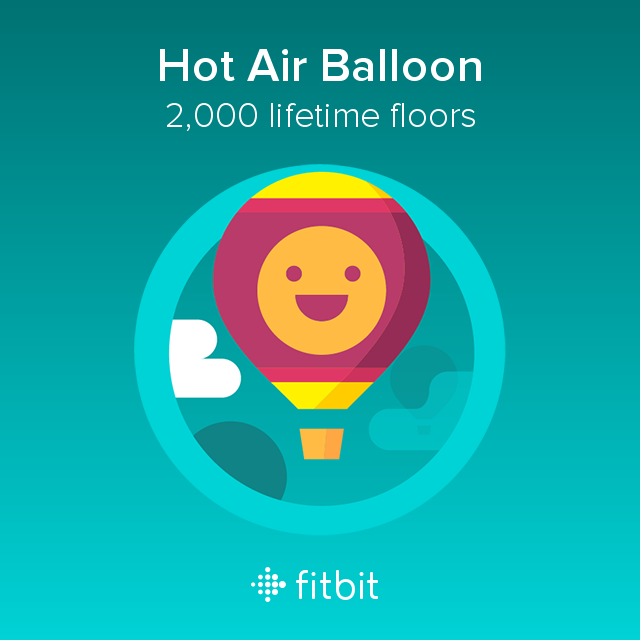 Fitbit image of a Hot Air Balloon with the achievement '2,000 floors climbed in a lifetime'