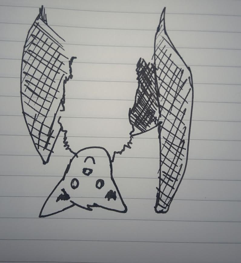 A scrappy pen sketch of an upside-down, smiling bat