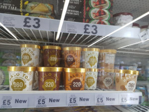 halo top ice cream on the shelves at tesco