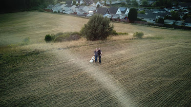 An aerial picture of a couple and a labrador. It's us, from above!