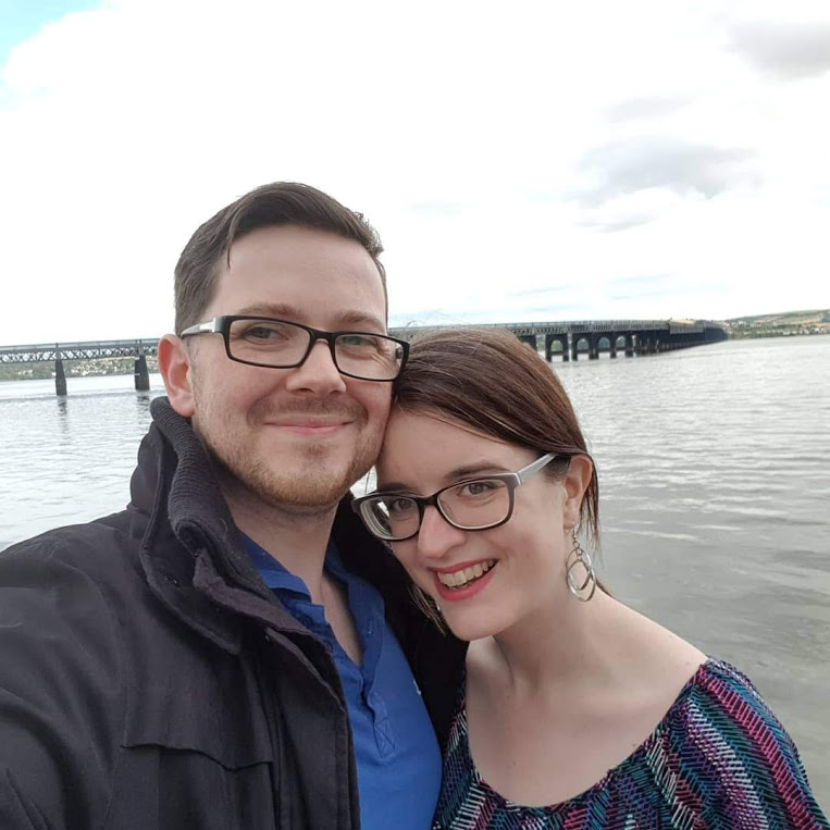 Myself and my partner by the waterside in Dundee