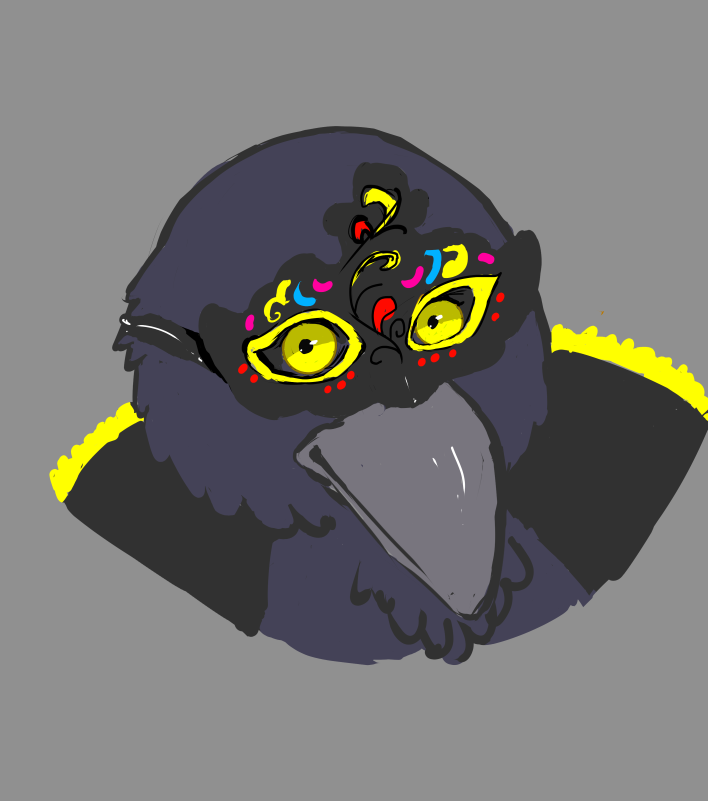 A bird character with a Venetian mask