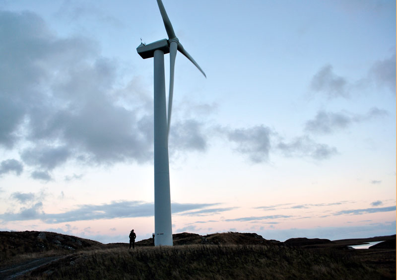 The Stornoway wind farm windmills. That's me on the bottom left!