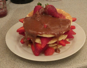 Pancakes by the Co-Op, arranged and cooked by Dave, sauce by me. TEAMWORK!