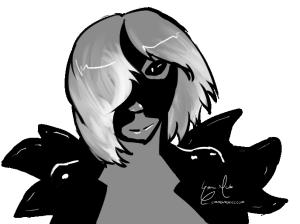 A black-skinned, feminine seamonster