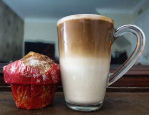 pumpkin spice latte and a muffin