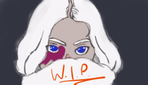 A white-haired girl with a birthmark on her face. She's hiding her mouth behind a white cardigan collar.