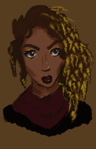 A brown-skinned women with brown curls, short on one side and long with ombre blonde ringlets on the other. She's wearing gold shadow, a black top with a maroon cowl-neck and maroon lipstick.
