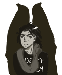 A bat-winged dude, drawn in greyscale. He's got long floppy black hair, a scattering of moles on his face, a long infinity scarf and a Voidmerch DEATH ENERGY t-shirt.